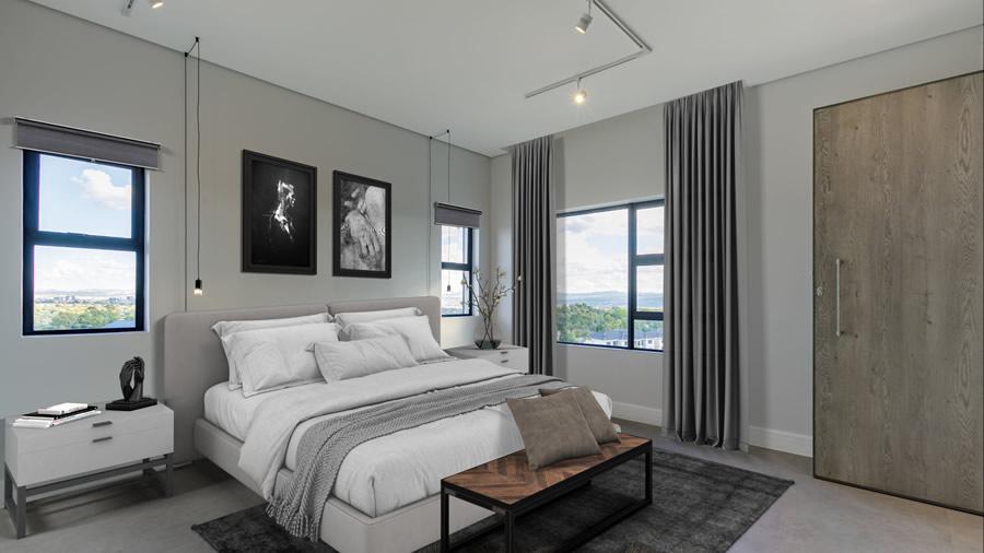 Penthouse bedroom staged - slider